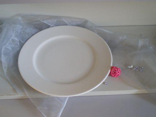 Tasse & Assiette : Assiette ronde plate en porcelaine blanche 27 cm Pierre de